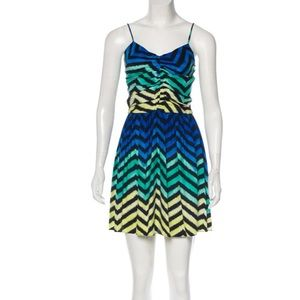 Parker green blue mini dress silk spaghetti strap